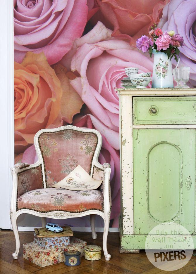 17 meilleures id es propos de papier peint shabby chic. Black Bedroom Furniture Sets. Home Design Ideas