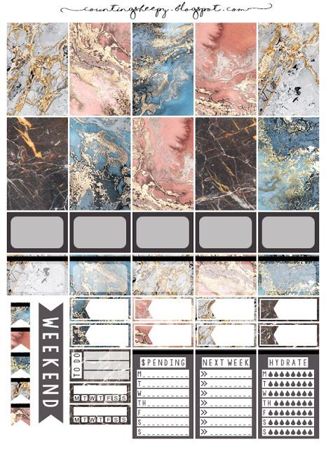 Counting Sheepy: Free Planner Printables - Colored Marble