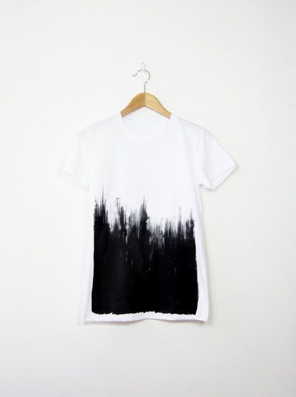 Organic Cotton Tee Hand Screen Printed Mens and Womens - Brush Stroke Ombre via Etsy