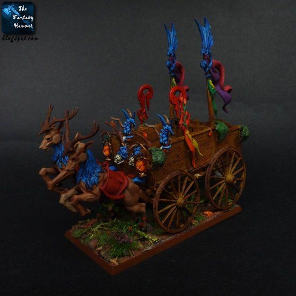 WiP: Wood Elves Athel Loren cart with Deers and Spites