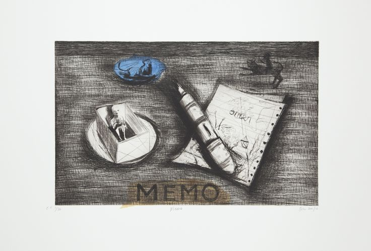 Memo (Version A) 2012. Edition of 20 (available). Chine Collé, Etching and drypoint