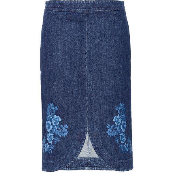 Stella McCartney Denim Threadwork Skirt ($520) ❤ liked on Polyvore featuring skirts, blue, stella mccartney, blue denim skirt, blue floral skirt, knee length denim skirt and floral print skirt