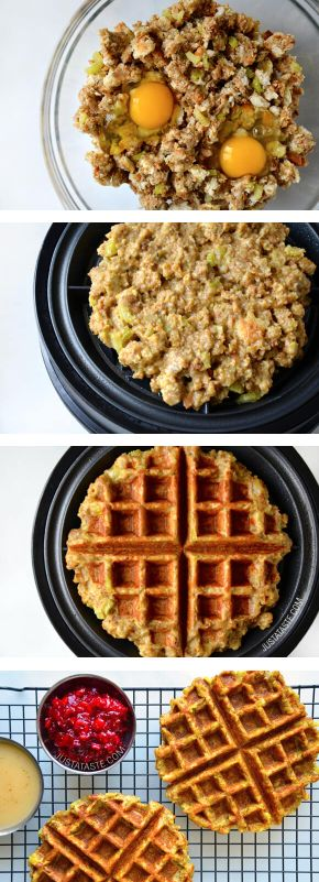 This Leftover Stuffing Waffle recipe is the perfect way to use Thanksgiving side dishes in a unique and delicious way. Your family will love this savory creation so much, they'll want to make it a holiday tradition—especially when they're topped with cranberry sauce or homemade gravy.