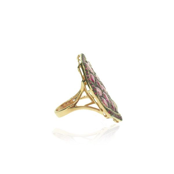 Asymmetric Ruby and pink Sapphire ring | Trellis Jewellery