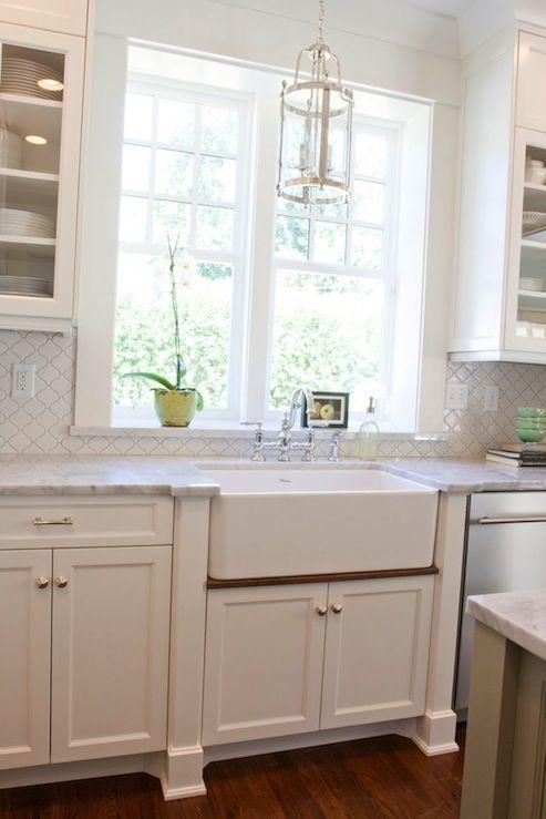 kitchens - Benjamin Moore - Dune White - Overstock White Porcelain Moorish Mosaic Tiles farmhouse sink marble countertops Tiek Built Homes -