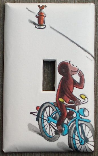 Curious George Light Switch Plate / recycled / upcycled / via Etsy.