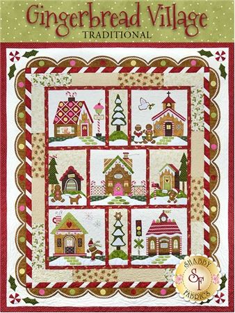 Gingerbread Village Quilt Kit - Traditional: Celebrate Christmas with this adorable Gingerbread Village quilt! The Gingerbread Village quilt finishes to approximately 62