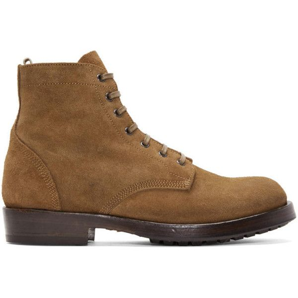 Officine Creative Brown Lowry Boots ($555) ❤ liked on Polyvore featuring men's fashion, men's shoes, men's boots, brown, mens brown leather boots, mens round toe cowboy boots, mens brown leather lace up boots, mens leather boots and mens brown boots