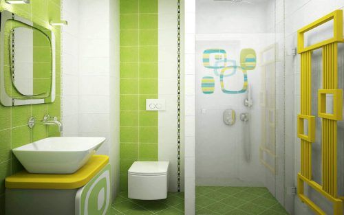 Unique Tiled bathroom in Yellow and Green Color
