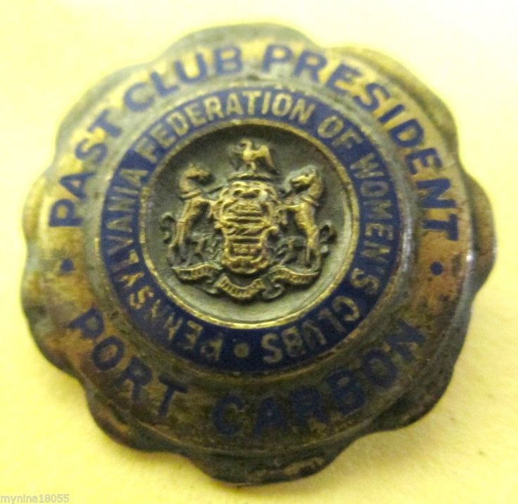 1958 PA Federation of Womens Clubs Past Club President Port Carbon Sterling Pin