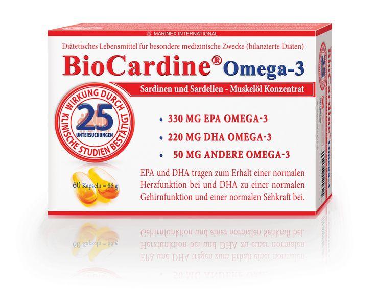 25 klinische Studien und Untersuchungen. Wirkung bestätigt!* BioCardine®Omega-3 ist ein diätetisches Lebensmittel für besondere medizinische Zwecke (bilanzierte Diäten) auf der Basis von Sardinen- und Sardellen-Muskelöl-Konzentrat sowie biologisch natürlichen Substanzen. Die Kapseln sind reich an Fettsäuren wie DHA (Docosahexaensäure) und EPA (Eicosapentaensäure)-Omega-3, die vor allem die Funktion des Herzens unterstützen.