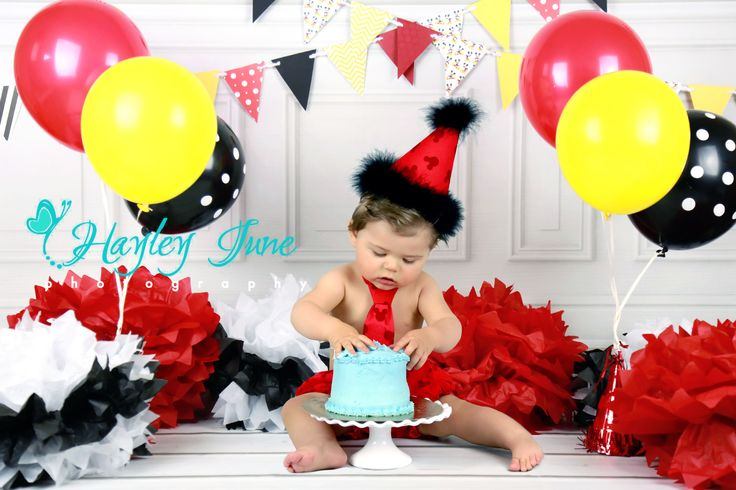 Mickey Mouse Smash Cake: A Cute Little Man On His First Birthday. Mickey Mouse Was