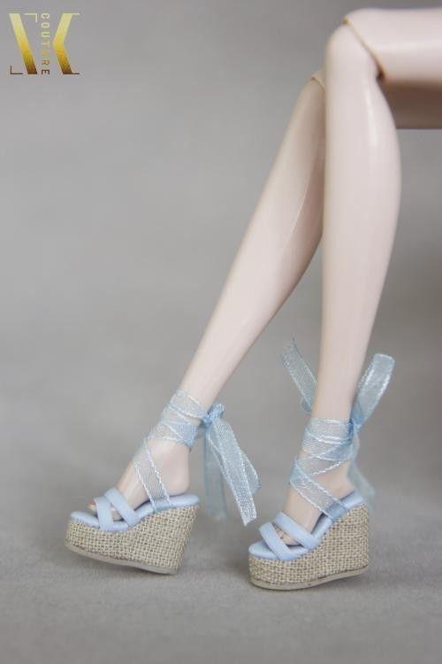 SK108 Blue Ribbon wedge heel Shoes for Fr, DG, Momoko, Barbie, Azone #SKCouture