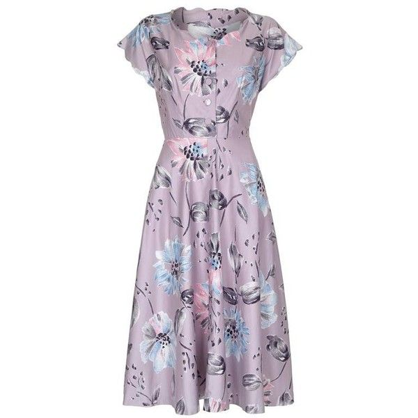 Preowned 1950s Mauve Polished Cotton Floral Dress ($325) ❤ liked on Polyvore featuring dresses, grey, vintage dresses, button front dress, zipper dress, cotton dresses and cotton floral dress