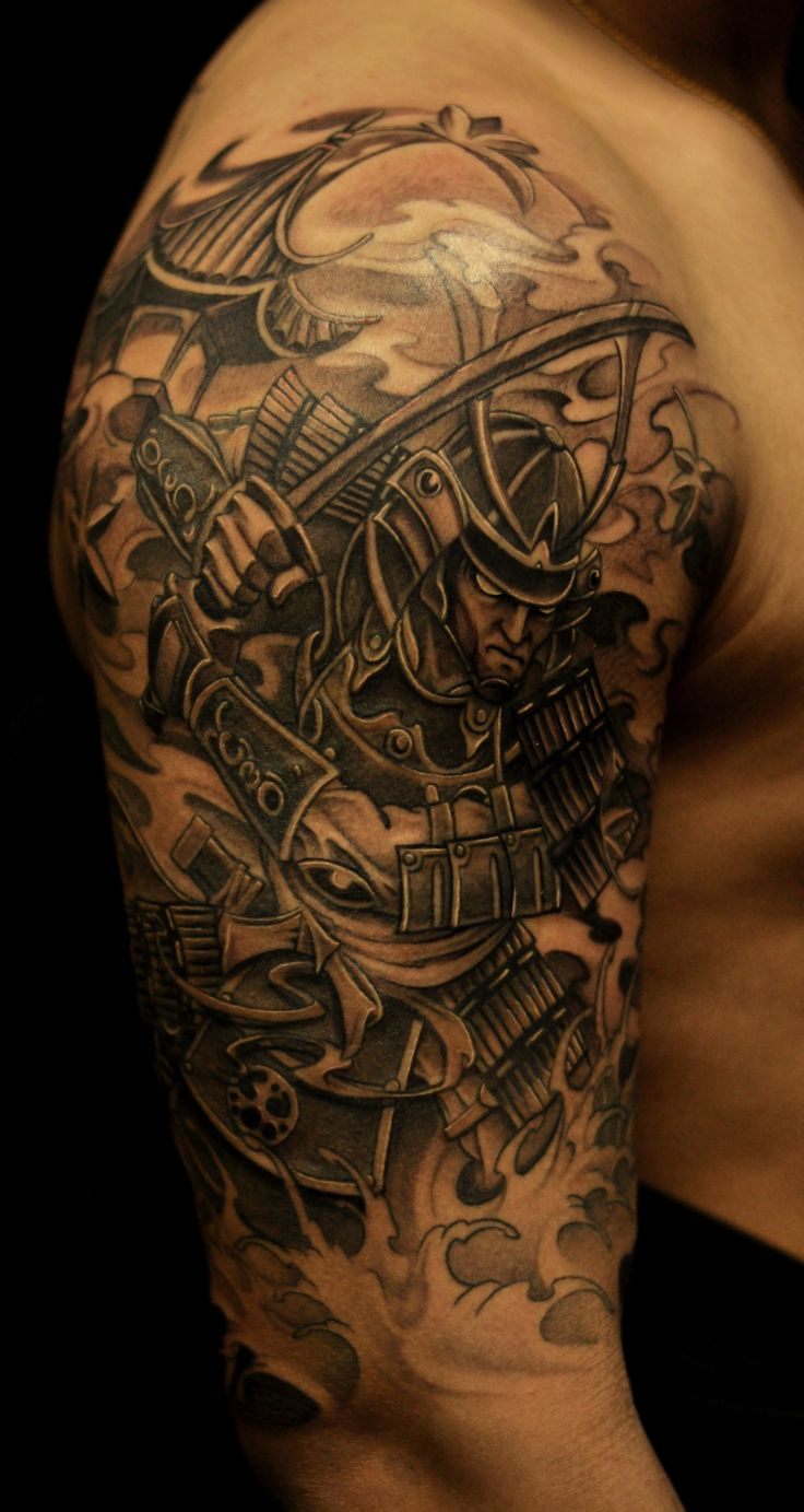 samurai tattoos | Half sleeve Samurai and Pagoda tattoo