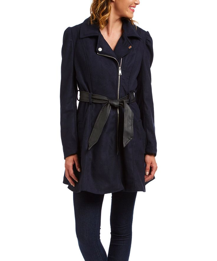 Therapy Navy Faux Leather Tie-Waist Coat