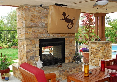 Tv cover and two way fireplace house and yard - Ideas to cover fireplace opening ...