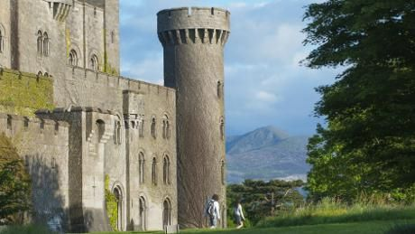 View of Snowdonia beyond Penrhyn Castle, Bangor, Gwynedd