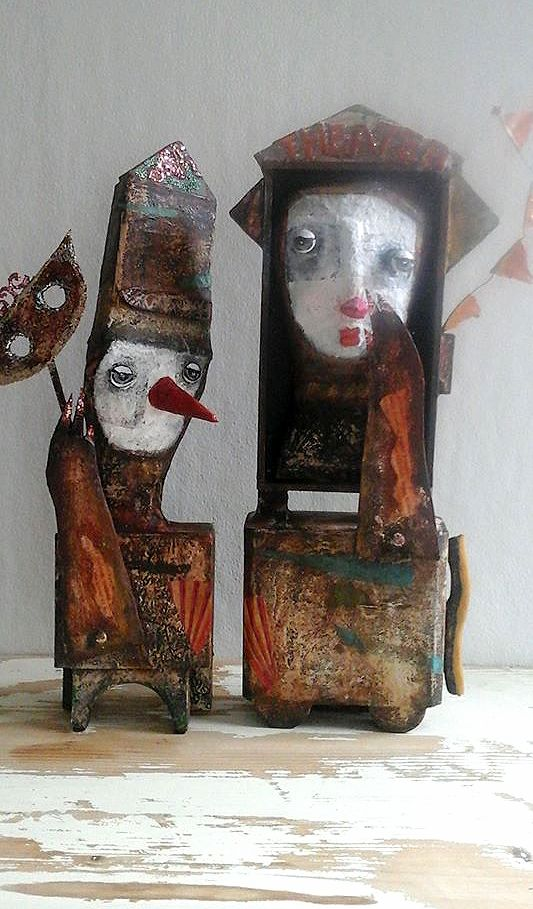 Folk Art Sculpture 'The Little Theater' paper maché figures by Lizzee Folk Art