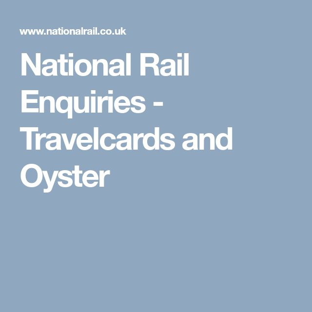 National Rail Enquiries - Travelcards and Oyster