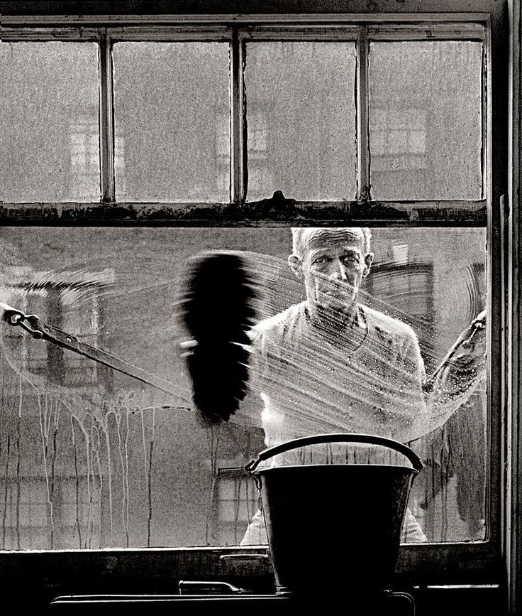 Window Washer, 1950's - Photo by Norman LernerPhotos, Windows Washer, 1950S, Art Photography, Black White, Norman Lerner, 1950 S, Street Photography, Photography Inspiration