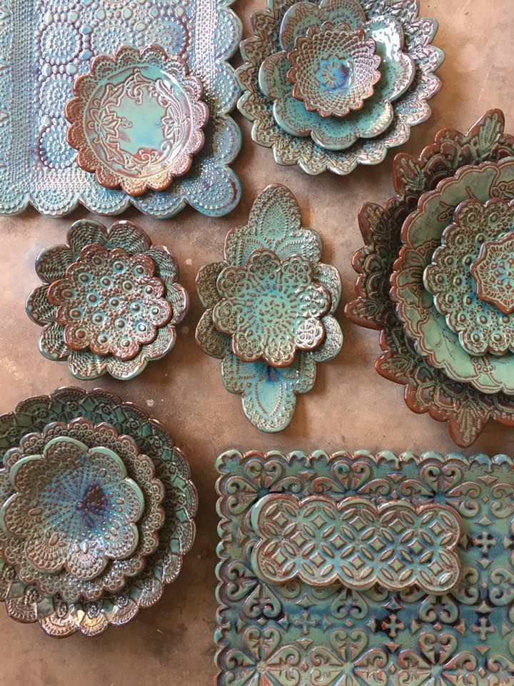 Handmade rustic ceramics with fabric imprints and doily effects... Soooo beautiful!!