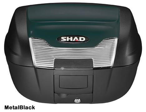 """Shad SH-40 motorcycle top case in metal black. Designed to attach to most flat luggage racks. Its dimensions are: 16.7"""" L x 19.3"""" W x 11.6"""" H and has a 40 liter capacity. Your price is $188.95. With Free Shipping."""