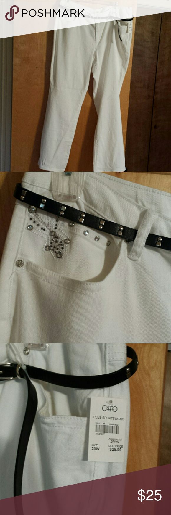 Plus White Bootcut Jeans Cute Stretchy White Bootcut Denim Jeans all blinged out in Clear Rhinestones!! Comes w/ thin black belt w/ studs. Back flap pockets also embellished with studs & stones!! Cato Jeans Boot Cut