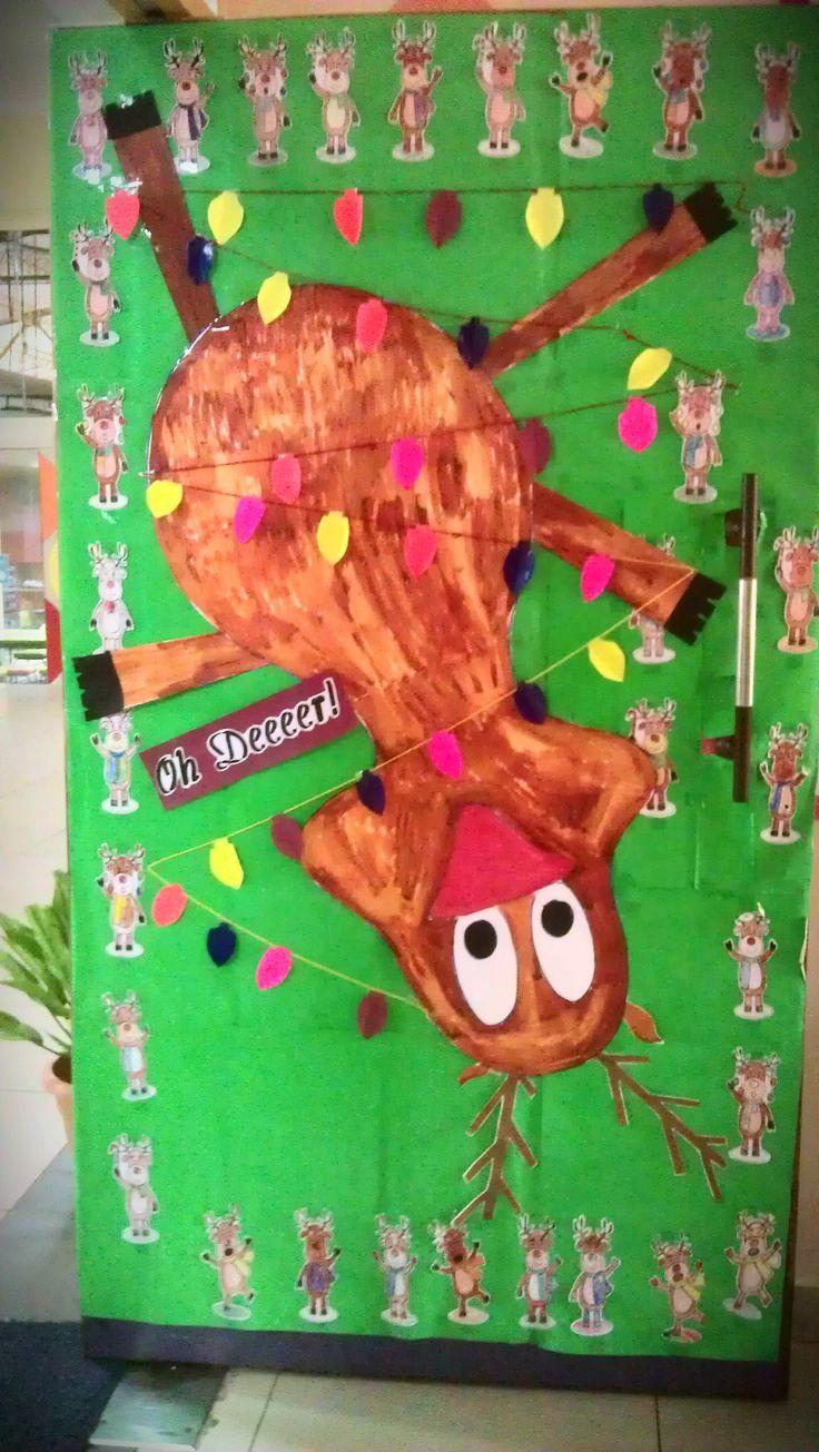 Christmas door decorations reindeer - Reindeer For Christmas Door Decoration 2014 Oh Deeeeeer