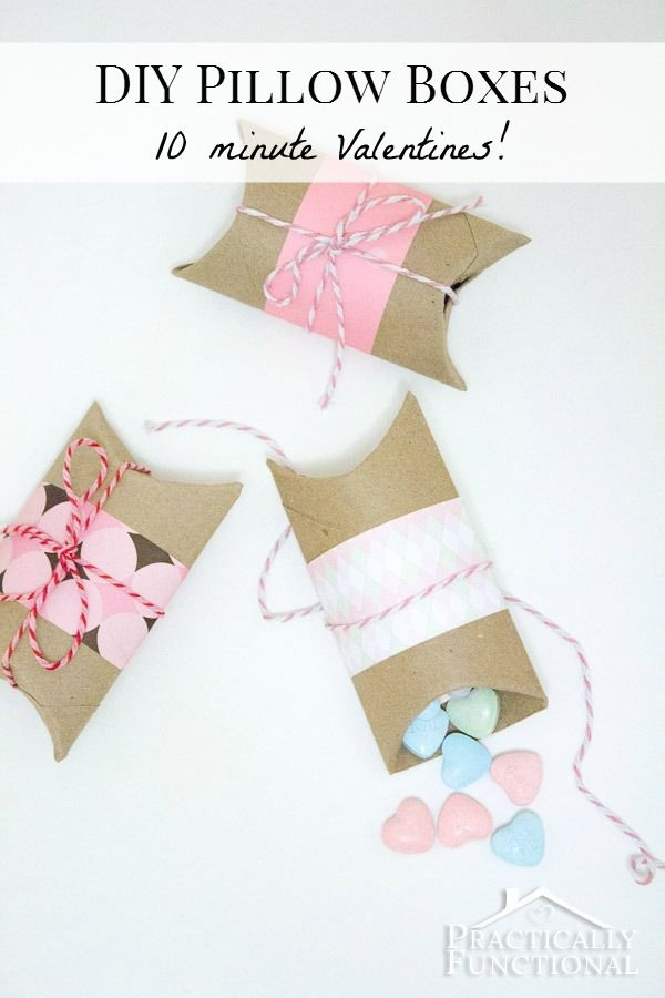 DIY Valentine's Pillow Boxes: Turn an empty toilet paper tube into a Valentine pillow box in under ten minutes!