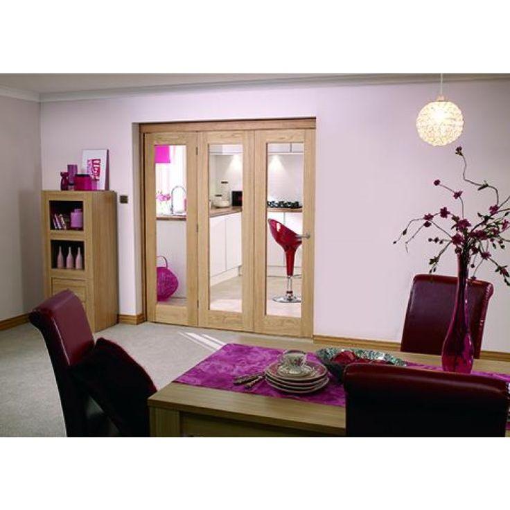 Internal bi Folding NUVU LPD Door System With Oak Pattern 10 Glazed Doors 78 x 21