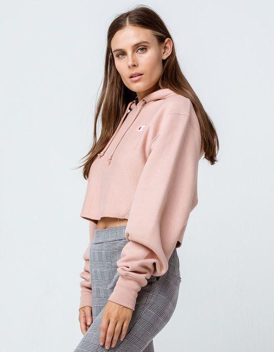 d827f7f5 CHAMPION Reverse Weave Light Pink Womens Crop Hoodie | wants !! in ...