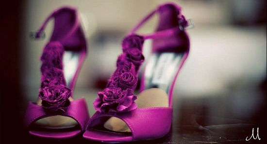 Real Wedding unexpected purple shoes whimsical pink