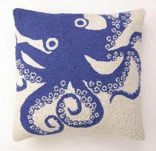 beach decor octopus accent pillow