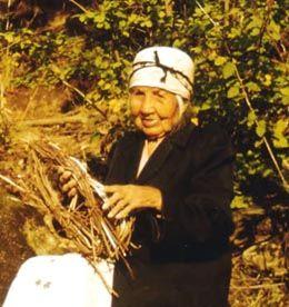 Mary Kiona (1868-1970), famed Cowlitz basket weaver, n.d.. Courtesy United States Forest Service