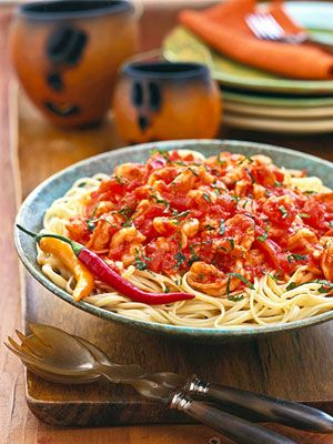 Diavolo is the Italian word for devil and refers to sauces seasoned with hot chiles. In this 20-minute recipe, red pepper flakes provide plenty of heat for a shrimp and tomato sauce that's tossed with linguine.
