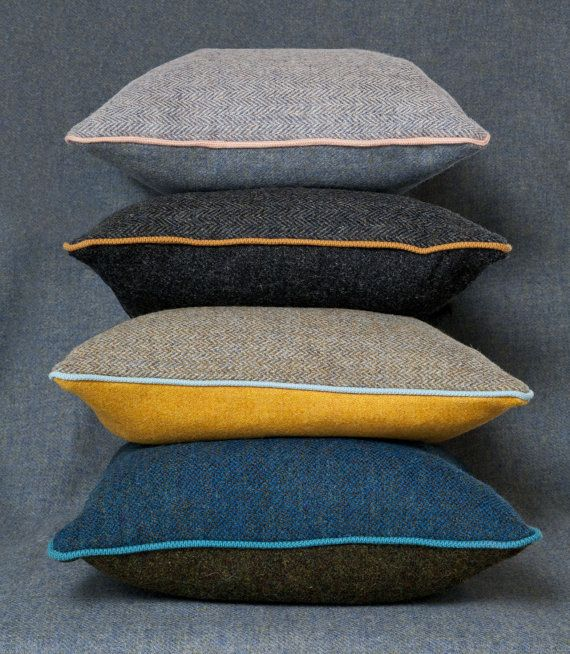 Harris Tweed cushion with contrast piping in contemporary colours using both Herringbone and plain Harris tweed | http://www.etsy.com/listing/161628438/harris-tweed-cushion-with-contrast