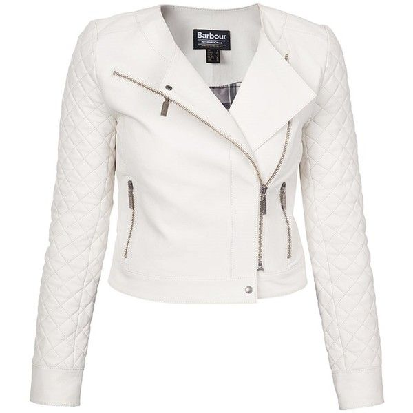 Women's Barbour International Ballotade Leather Jacket - White ($855) ❤ liked on Polyvore featuring outerwear, jackets, collarless biker jacket, white collarless jacket, quilted biker jacket, white jacket and leather jackets