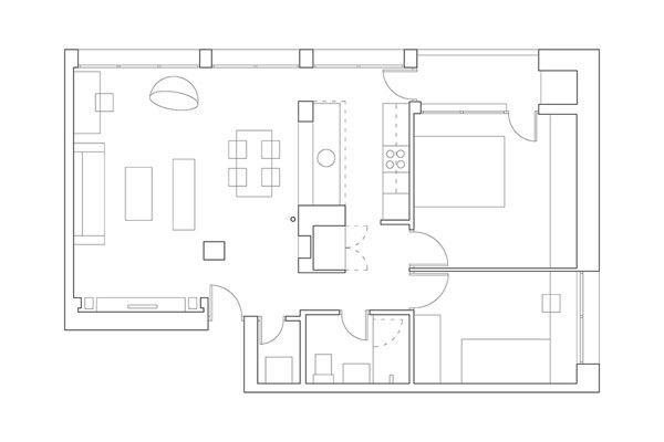 Wohnung-minimalistischen Andreja Bujevac 21 schwarz-weiß (1) Grundriss Bauplan