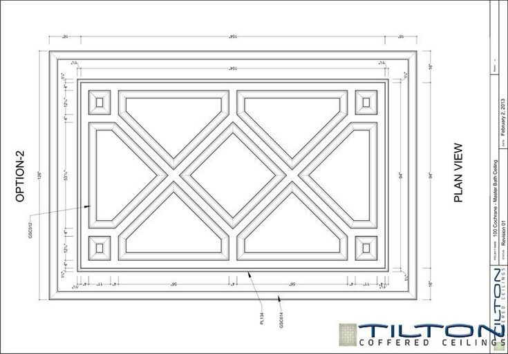 Coffered Ceiling Design Drawing - Bespoke 14