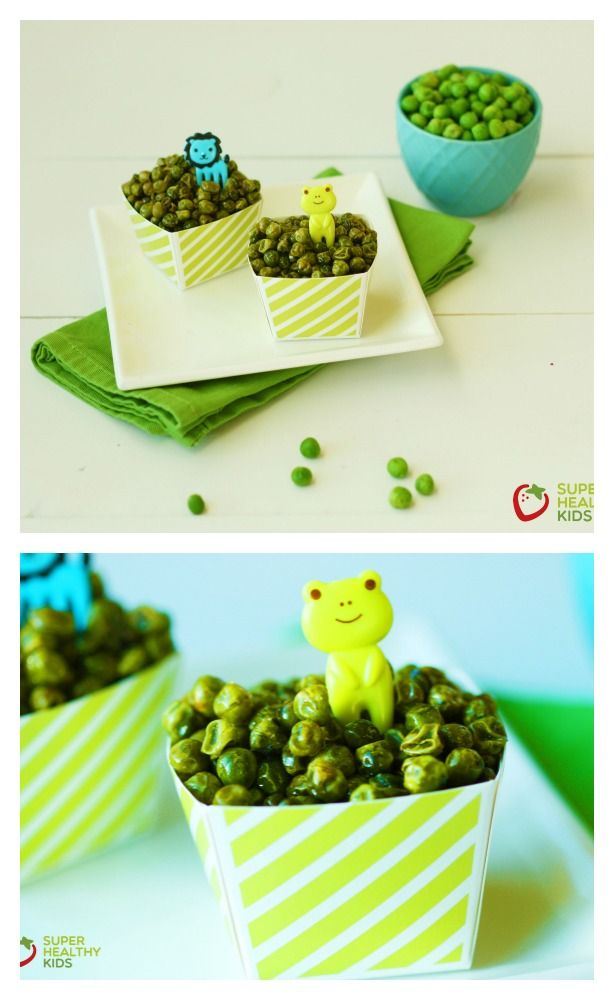 Crunchy Roasted Green Peas. Savory, crunchy and a great way to serve veggies to your kids as a snack! www.superhealthykids.com