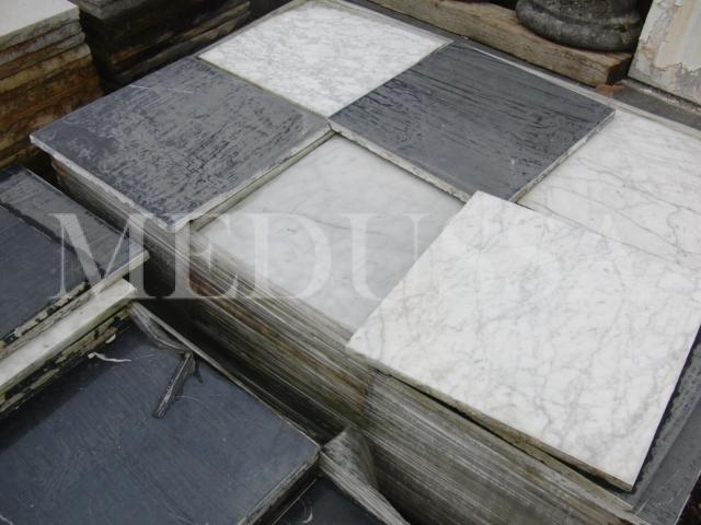 Vlo-087 dambord patroon: zwart en wit marmeren tegels