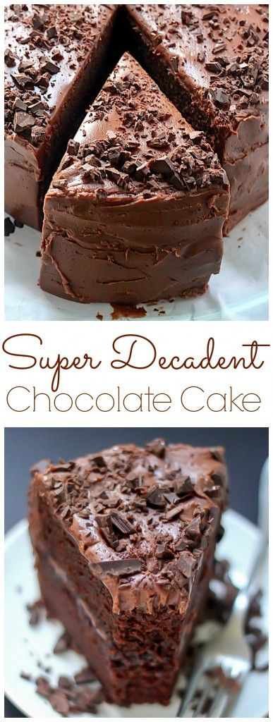 Pastel de chocolate decadente con el Super Fudge Frosting