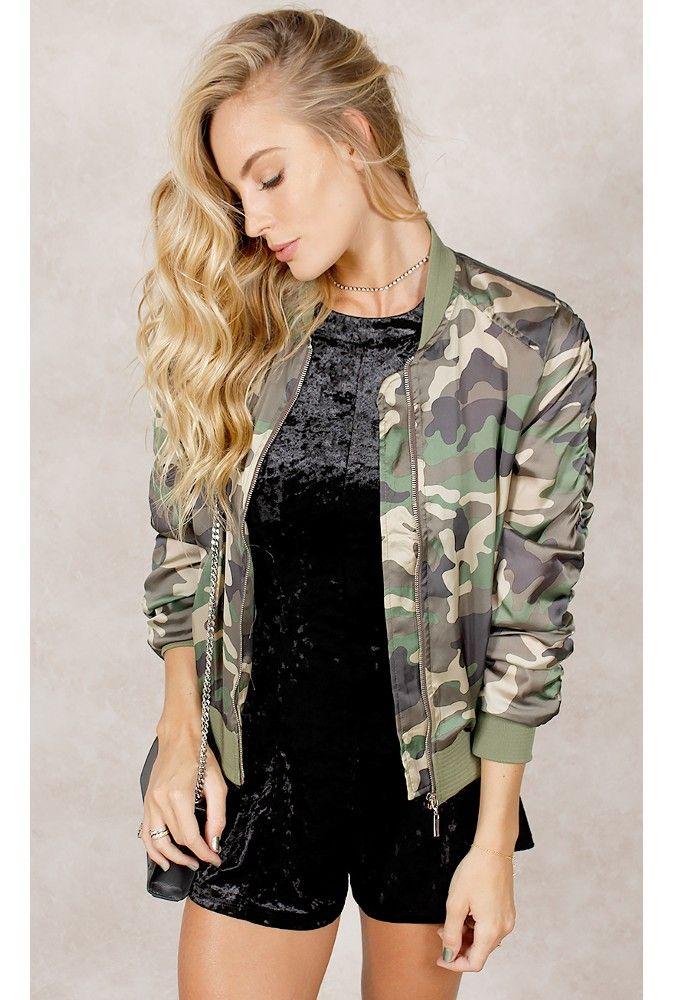 Jaqueta Bomber Militar Acetinado Verde - fashioncloset