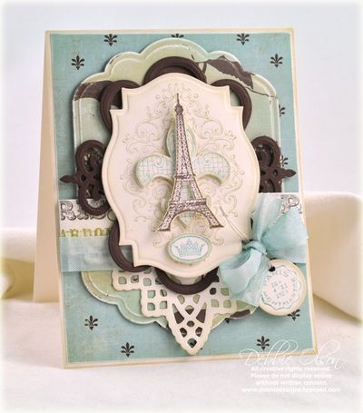 Bon Voyage Paris die cut card. JustRite Stamps: CL 02185 Bon Voyage - cling Dies:  Spellbinders Grand Labels 11, Labels 18, Lace Doily Motifs, Standard Circles, Twisted Metal Tags and Accents