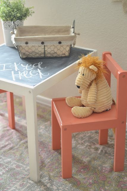 Ikea Hack: Children's Table with chalkboard top & painted chairs   Paddington Way.