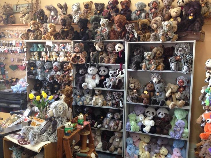 The Charlie Bears wall at the shop.