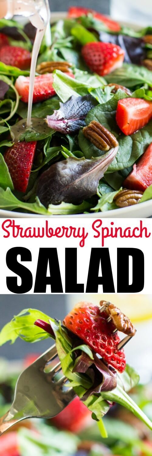 A fresh and easy Strawberry Spinach Salad with crunchy pecans and a sweet poppy seed dressing. Makes a great lunch and is perfect for parties!