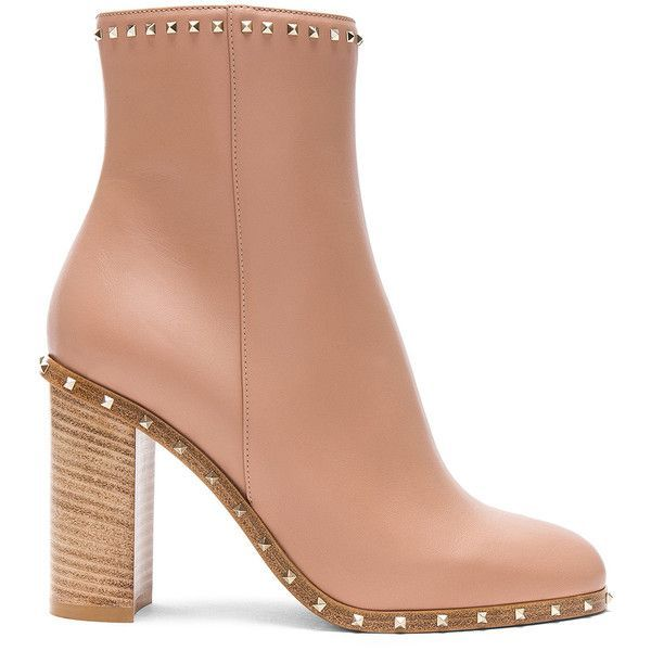 Valentino Rockstud Trim Leather Booties ($1,420) ❤ liked on Polyvore featuring shoes, boots, ankle booties, ankle boots, leather upper boots, leather bootie, leather boots and high heel booties
