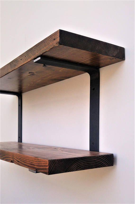 double wall mounted shelf bracket set holds two shelves on wall brackets id=79623